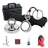 MHDMAG Magnet Fishing Kit, 650LBS Fishing Magnet with Rope, Grappling Hooks and Gloves, 1000LBS Combined Pulling Force Double Sided Neodymium Rare Earth Magnet for Salvage and Retrieval