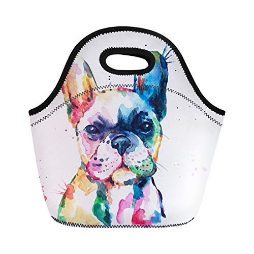 Semtomn Lunch Tote Bag Frenchie French Bulldog Original Watercolor of Dog Funny Happy Reusable Neoprene Insulated Thermal Outdoor Picnic Lunchbox for Men Women