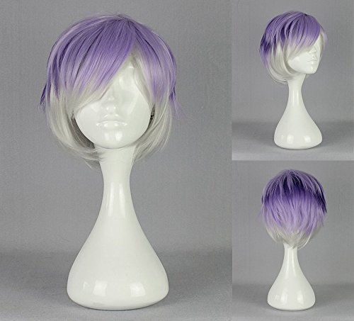 Ladieshair Cosplay Perücke Diabolik Lovers - Kanato Sakamaki Lila/Grau 32cm