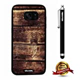Galaxy S7 edge Case, Wood Texture Case, Cowcool Ultra Thin Soft Silicone Case for Samsung Galaxy S7 edge - Horizontal Overlay Wood Texture