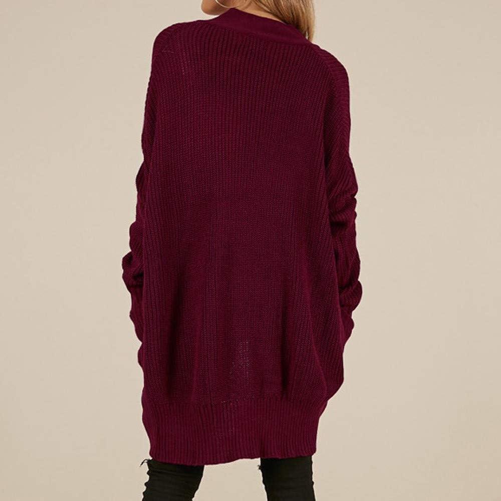 FRAUIT Damen Winter Kaschmir übergroße Pullover Kleid Gestrickte Mode-Frauen-Lose Lange Pullover Hülsen-Feste Taschen-Wolljacken-Oberseiten-Strickjacke strickte Mantel Wein