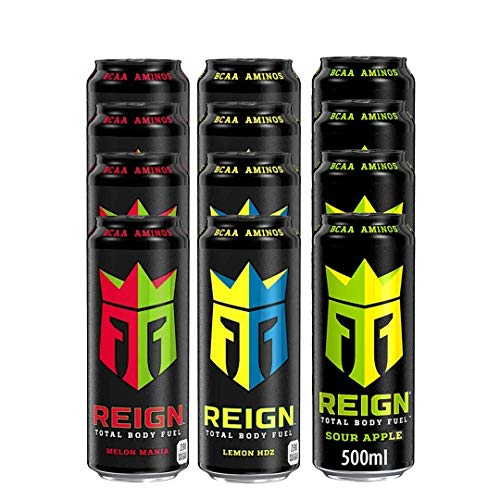 Reign Monster's Total Body Fuel BCAA Energy Drink Mixed Case , 500ml x 12 - Zero Sugar, Sugar Free