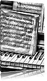 Pixxprint Klavier mit Notenblätter als Leinwandbild   Größe: 120x80 cm   Wandbild  Kunstdruck   fertig bespannt