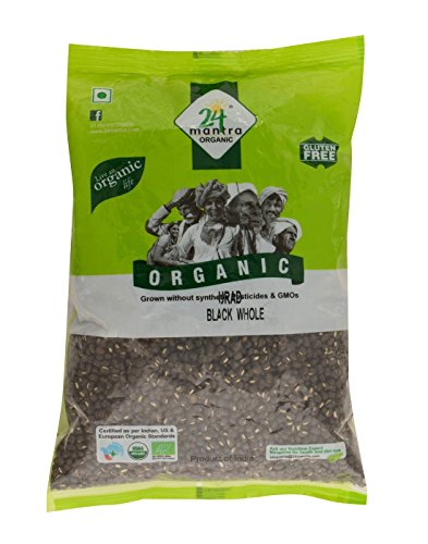 Organic Urad Dal Black Whole 4 Pounds, Black Matpe Beans or Black lentils, USDA Certified Organic - 24 Mantra Organic
