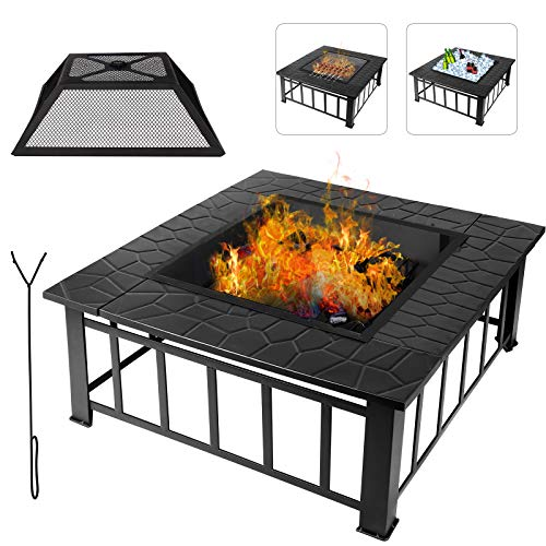 Buycitky Outdoor Fire Pit for Garden Large, 3 In 1 Fire Pit Table for BBQ, Ice Pit, Patio Heater, Metal Firepit for Outside Camping Barbecue, 32' X 32' X 14.2'
