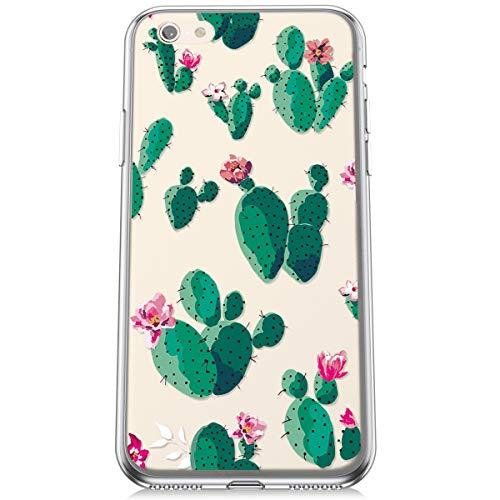 Felfy Transparente Funda Compatible con iPhone 6S Carcasa Silicona,Compatible con iPhone 6 Funda Transparente con Dibujos,Moda Pintado Diseño Crystal Clear Silicona TPU Case.Cactus