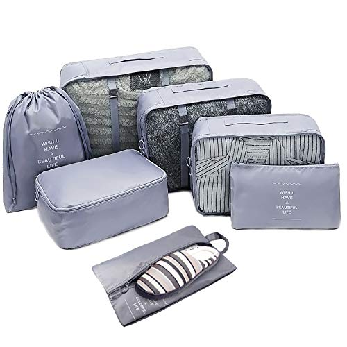Packing Cubes 7 Set Luggage Organizers,Various Sizes Compression Travel Suitcase Organizer