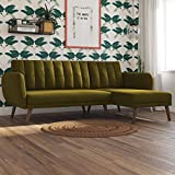 Novogratz Brittany Sectional Futon Sofa - Converts from Sofa & Chaise Lounger to Bed - Green