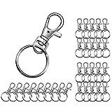 Ivencase 30 pcs Porte-clés, Métal Polissage Keychain de Crochets Anneaux Détachables avec Mousquetons Pivotants pour Clés