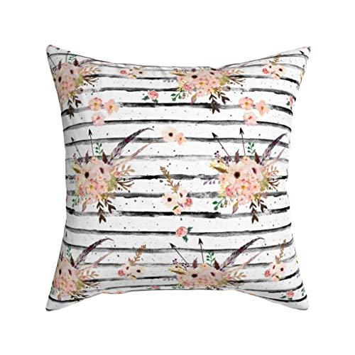Lose Yourself strepen met Boho roze bloemenprint 90 graden fluweel zacht kussen Cover Square Decor 16