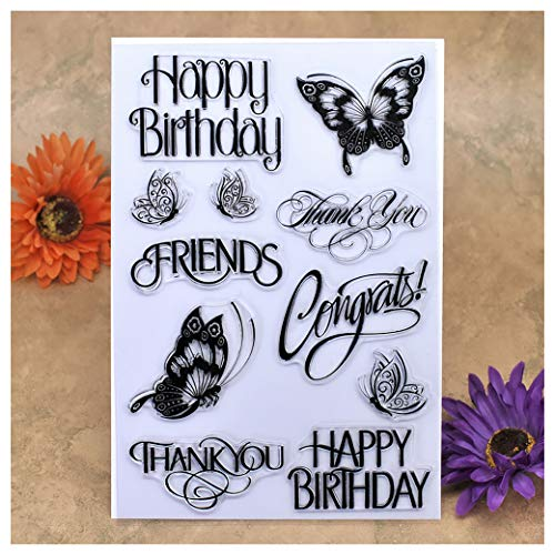 Kwan Crafts Happy Birthday Thank You Friends Butterfly Clear Stamps for Card Making Decoration and DIY Scrapbooking