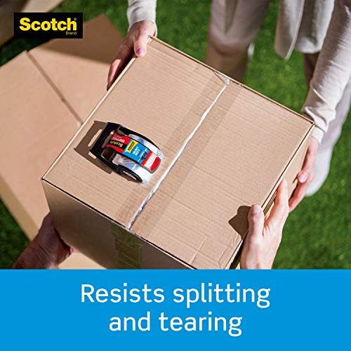 """Scotch Heavy Duty Packaging Tape, 1.88"""" x 22.2 yd, Designed for Packing, Shipping and Mailing, 3M Industrial Strength Adhesive, 1.5"""" Core, Clear, 1 Roll with Dispenser (142-BL)"""