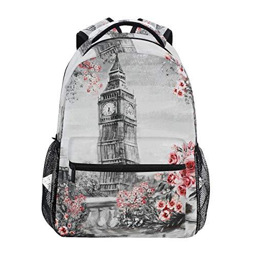 Zaino Studenti,Borsa Per Studenti Del Big Ben Di Londra, Utili Zaini Per La Scuola Per Viaggi All'Aperto,40cm(H) x29cm(W)