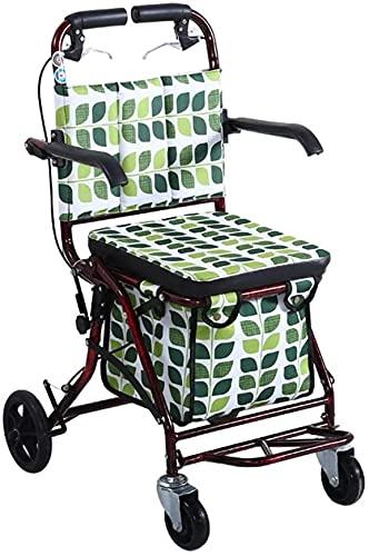 Rollator Walker Medical Walker para personas mayores y adultos Bolso de compras plegable anciano con ruedas portátil, compacto verde (Color : B)