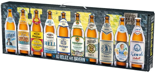 Beer Tasting Box | Geschenk-Idee | Papa | Männer | Bier-Spezialitäten von Privatbrauereien | mit Henkel | Geburtstag (Männerhandtasche Hell 10x0,5l)