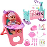 """deAO 14"""" 'My First Baby Doll' 15 Pieces Play Set with Miniature Crib, Mobile, High Chair, Feeding Accessories and Baby Doll Included"""