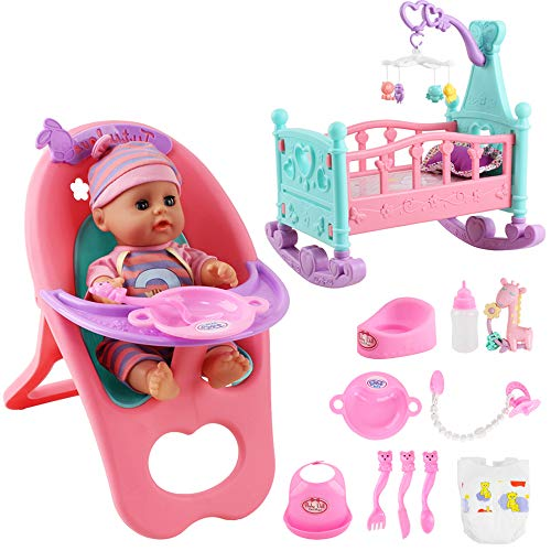 deAO Baby Doll Set with Crib Mobile High Chair Stroller Feeding Accessories 15 Pieces Play Set (Baby Doll Included)