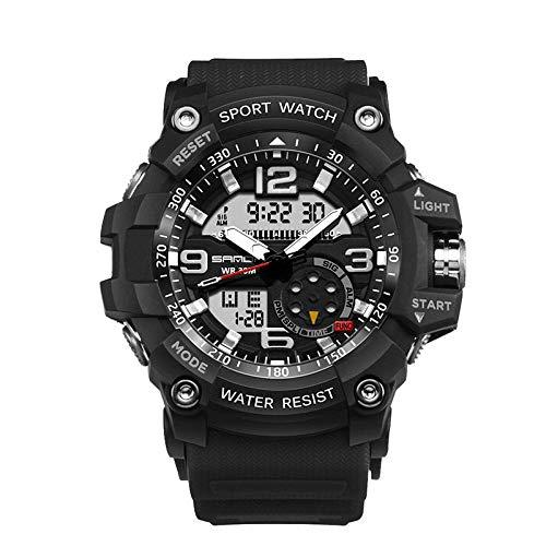 SANDA Relojes Mujer,Reloj Relojes Moda Deportes multifunción Estudiante Reloj electrónico Reloj de Cuarzo Impermeable para Hombres-Negro