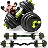 Adjustable Weight Dumbbell Curl Barbell Set 3-in-1 Dumbbell Set of 5/10/15/20/44/66lbs, Home Fitness Equipment for Adult Gym Workout Strength Training with Curl Rod Used as Barbell