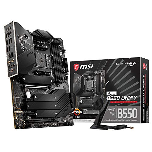 MSI MEG B550 UNIFY ATX Gaming Mainboard, AMD AM4 Ryzen 5000, 14+2 Phasendesign 90A-Leistungsstufe, integrierte Kühlung, 4xDDR4 Dual-Channel (128GB/5100MHz), Gen 4 M.2-Anschlüsse, Wi-Fi 6, 2.5Gb/s LAN