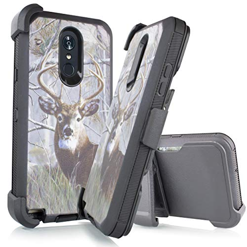 Compatible for LG Stylo 4 Case, LG Stylo 4 Plus Case, LG Q Stylus Case, Holster Belt Clip Phone Case w/Kickstand Built in Screen Protector (Deer)