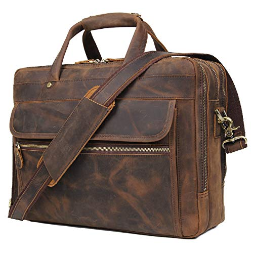 Augus Leather Briefcase for Men Business Travel Messenger ...