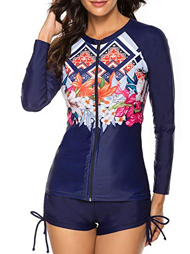 Century Star Women's Long Sleeve Rashguard UV Protection Two Piece Swimsuits Floral Printed Tankini Swimsuit Bathing Suit Navy Floral 10-12