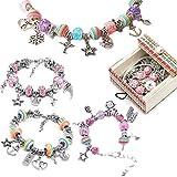 DIY Charm Bracelet Set Jewelry Making Supplies Bracelet Jewellery Making Kit DIY Crafts Bead Set 3 Silver Snake Bracelet Gifts For girl friend