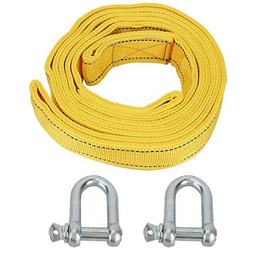 Cuerda de remolque de remolque de coche Cuerda de tracción fuerte Kit de tubo de alta resistencia 8 toneladas para navegar para escalar para columpios(yellow)