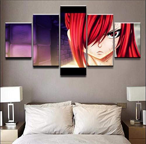 WTXZO Canvas Posters Prints Home Decor 5 Pieces Anime Erza Scarlet Fairy Tail Pictures Paintings Modern Living Room Wall Art Size A (No Frame)