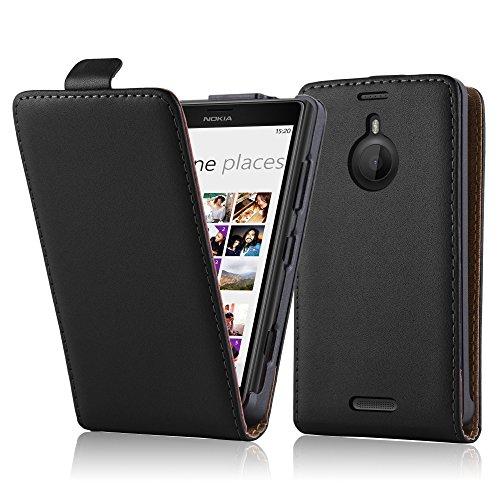 Cadorabo Hülle für Nokia Lumia 1520 in KAVIAR SCHWARZ - Handyhülle im Flip Design aus glattem Kunstleder - Hülle Cover Schutzhülle Etui Tasche Book Klapp Style