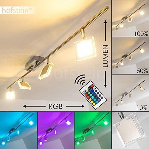 LED Deckenleuchte Ritsem, dimmbare Deckenlampe aus Metall in Nickel-matt, 4-flammig mit verstellbaren Leuchtenköpfen, 4 x 4,3 Watt, 1200 Lumen insgesamt, 3000 Kelvin, mit Farbwechsler u. Fernbedienung