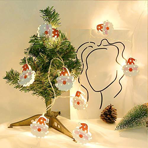 LED-Lichterkette mit Weihnachtsmann-Motiv, 1,65 m, 10 LEDs, batteriebetrieben, wasserdicht, für Weihnachten, Garten, Terrasse, Schlafzimmer, Party, Dekoration, Innen- und Außenbereich