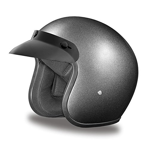 Daytona Helmets Motorcycle Open Face Helmet Cruiser- Gun Metal Grey Metallic 100% DOT Approved