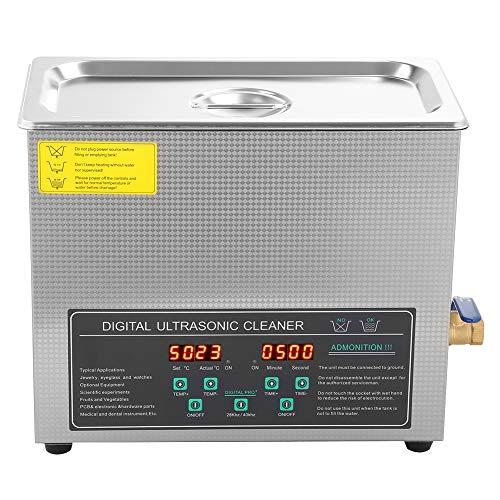 SOULONG Digitaler Ultraschallreiniger, 6 l, Ultraschallreiniger, Ultraschallreiniger, mit Timer und Korb für Brillen, Gelb, Münzen, Disc