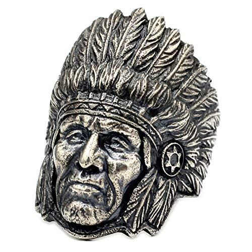 YABEME Anillo de Jefe Indio de Plata de Ley 925, Amuleto Tribal Vintage, Joyería Gótica Punk de Rock, Regalo de Motociclista de Fiesta de Cumpleaños para Hombres (Tamaños 17-28),11