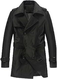 Mogogo Mens Texture Mid-Long Laydown Collar Parka Jackets with Belt