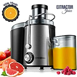 Image of Juicer, Oneisall Juice Extractor with Anti-Drip Spout, Ultra Fast Extract Centrifugal Juicer for Fruits and Vegetables, Easy to Clean plus Quiet Motor & Non-Slip Feet, Stainless Steel & BPA Free: Bestviewsreviews