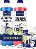 Kit de mantenimiento para cafeteras automáticas y automáticas – Descalcificador, limpiador de espuma de leche y pastillas de limpieza