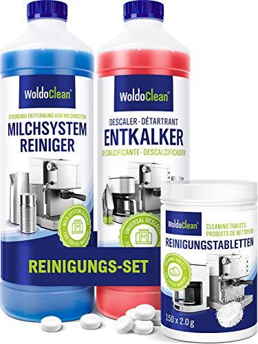 Pflegeset für Kaffeevollautomat und Kaffeemaschine – Entkalker, Milchschaumreiniger & Reinigungstabletten