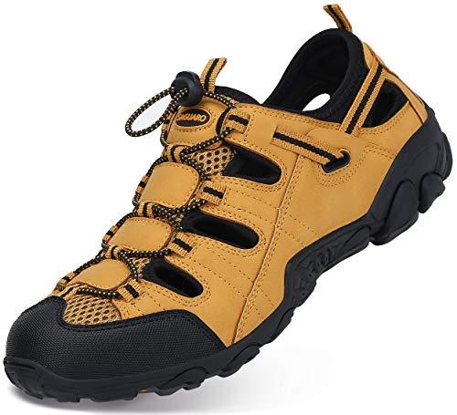 Sandalias Hombre Verano Los Zapatillas de Senderismo Transpirable Low Rise Peso Ligero Camper Cuero Sandalias Deportivas