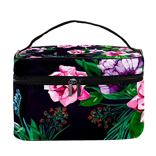 Vintage Pink and Purple Flowers Travel Makeup Bag Large Cosmetic Bag Makeup Case Organizer Zipper Toiletry Bags for Women Girls