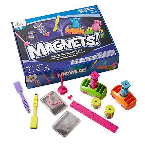 hand2mind MAGNETS! Super STEM Kits For Kids Ages 8-12, 9 Science Experiments And Fact-Filled Guide, Make Magnets Float, Move A Train & Build a Compass, Homeschool Science Kits, (Model: 90740)