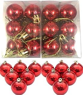Evisha 24 pcs Small Red Christmas X-Mass Tree Decoration Balls Hangings Ornaments