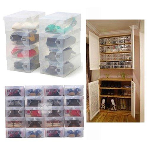 Gemini _ Mall® Schuh Box, 10 Schuh-Aufbewahrungsbox für Damen Herren - stapelbar und faltbare Schuh Organizer Boxen - Kunststoff und transparent, plastik, farblos, Einheitsgröße