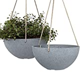 Hanging Planters For Indoor Plants - 10 Inch Flower Pots Outdoor Garden Planters Pots, Light Grey, Set Of 2