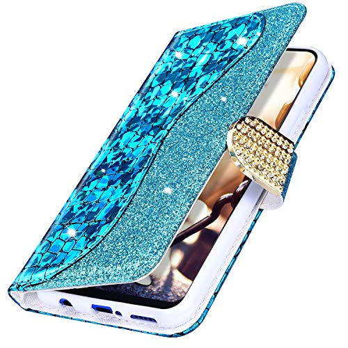 MoreChioce kompatibel mit Samsung Galaxy S6 Hülle,Galaxy S6 Hülle Leder Glitzer,Premium Blau Bling Diamant Laser Klapphülle Flip Protective Wallet Case Magnetische mit Kartenfach Standfunktion