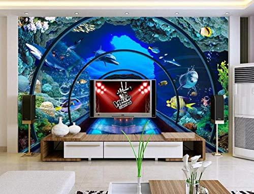3D Fototapete Unterwasserwelt Aquarium 300 x 210 cm Tapete 3D Wandbild Bild Tapeten Wandtapete Dekoration Wandbelag Wanddeko