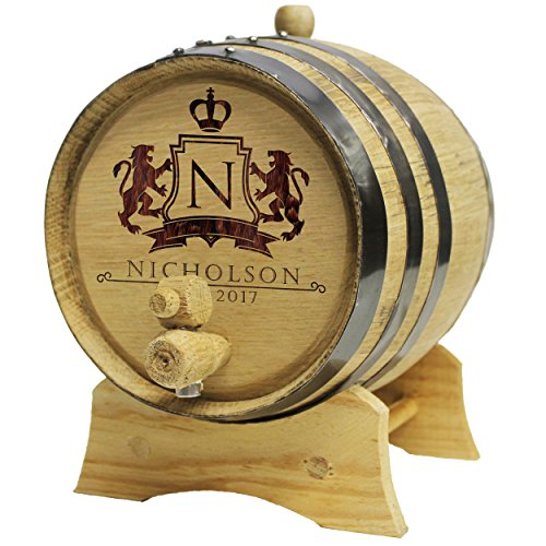 The Wedding Party Store Custom Engraved Oak Whiskey, Bourbon or Wine Barrel - Personalized for Free -WPS Designs (2 Liter Barrel)
