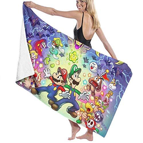 DJNGN Super Ma-r-i-o Spiel Kapuzen-Strandtuch mit Kapuze Strand-Badetücher Schnelltrocknende Badetücher für Reisen Camping Pool-Handtücher auf Strandwagen Strandstühle 51,5 x 32 Zoll
